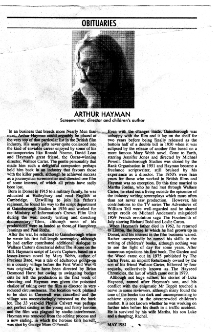 Arthur Hayman Obituary