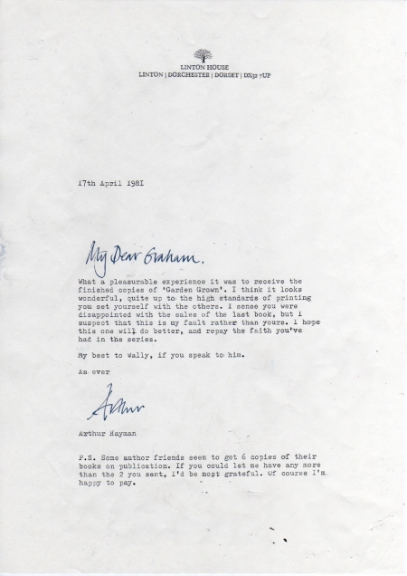 Letter from Arthur Hayman to Graham Carter