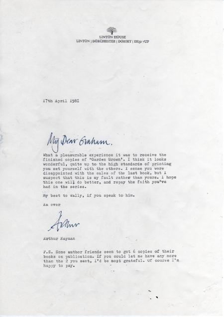 Letter from Arthur Hayman to Graham Carter