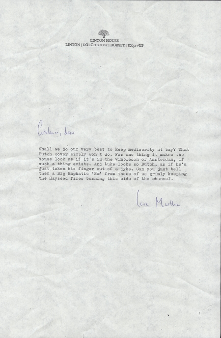 Letter from Martha Hayman to Graham Carter